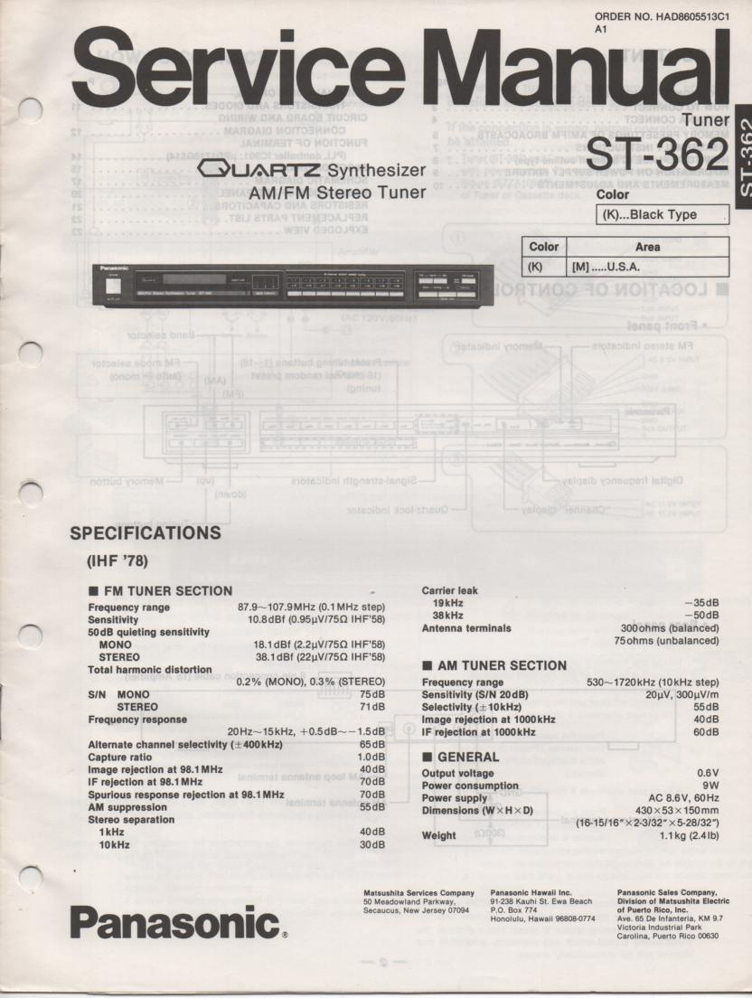 ST-362 Tuner Service Manual  Panasonic