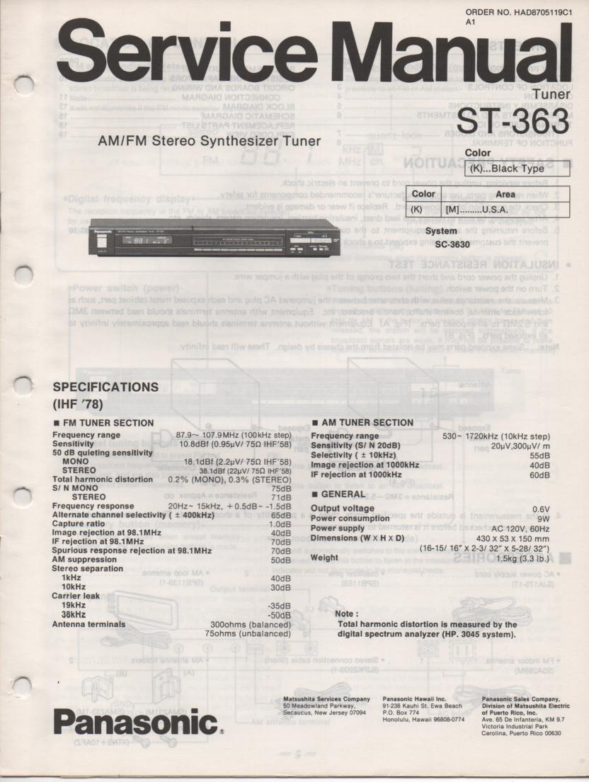 ST-363 Tuner Service Manual  Panasonic