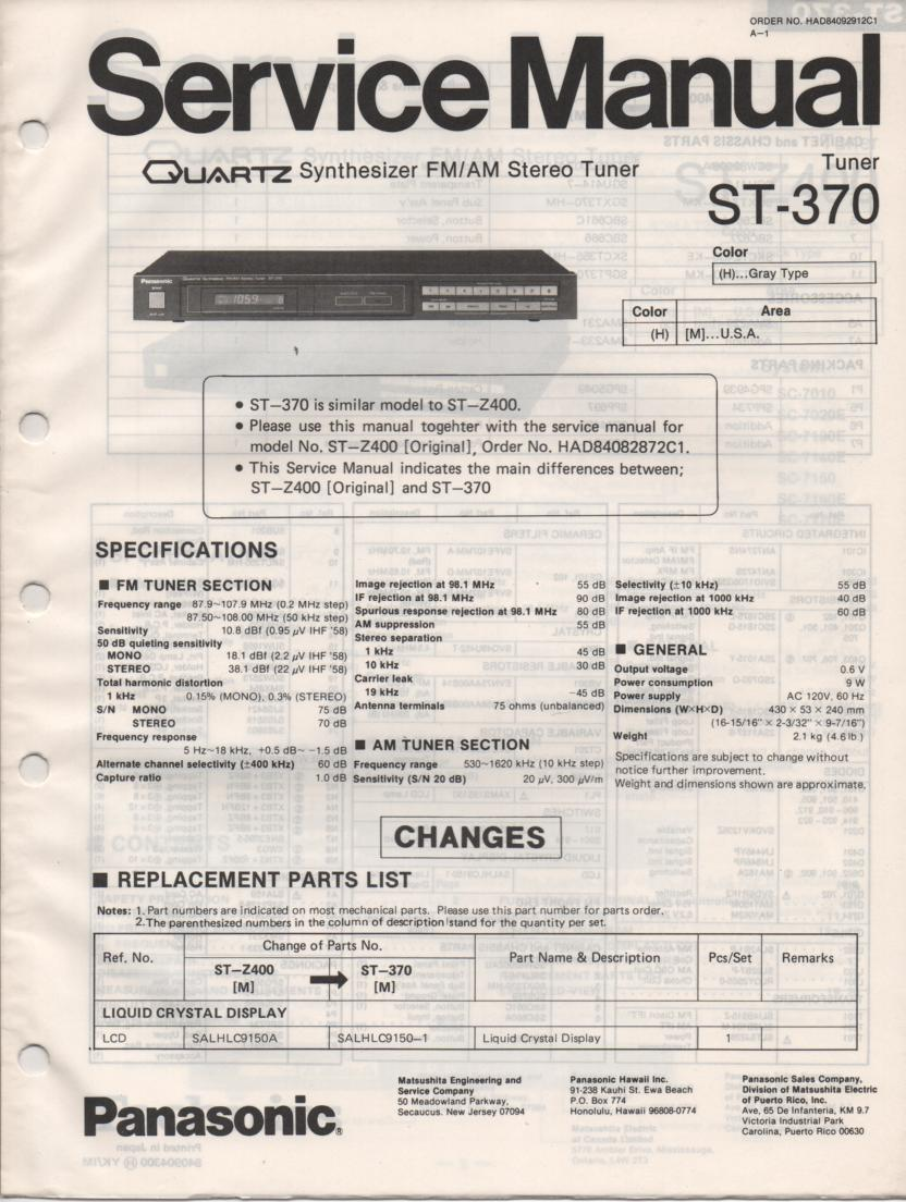 ST-370 Tuner Service Manual  Panasonic