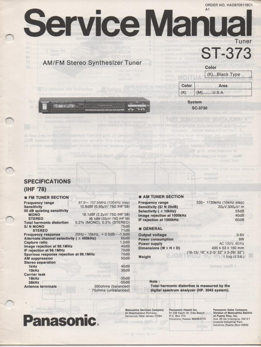 ST-373 Tuner Service Manual  Panasonic