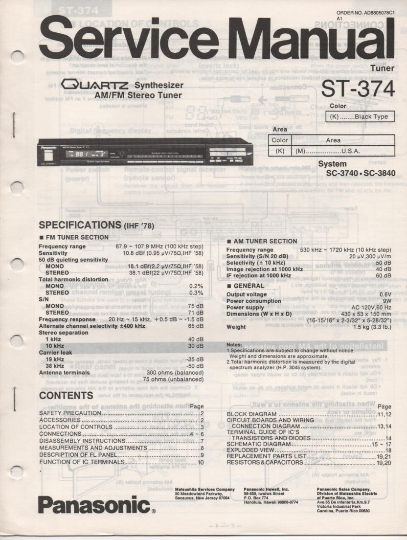 ST-374 Tuner Service Manual  Panasonic