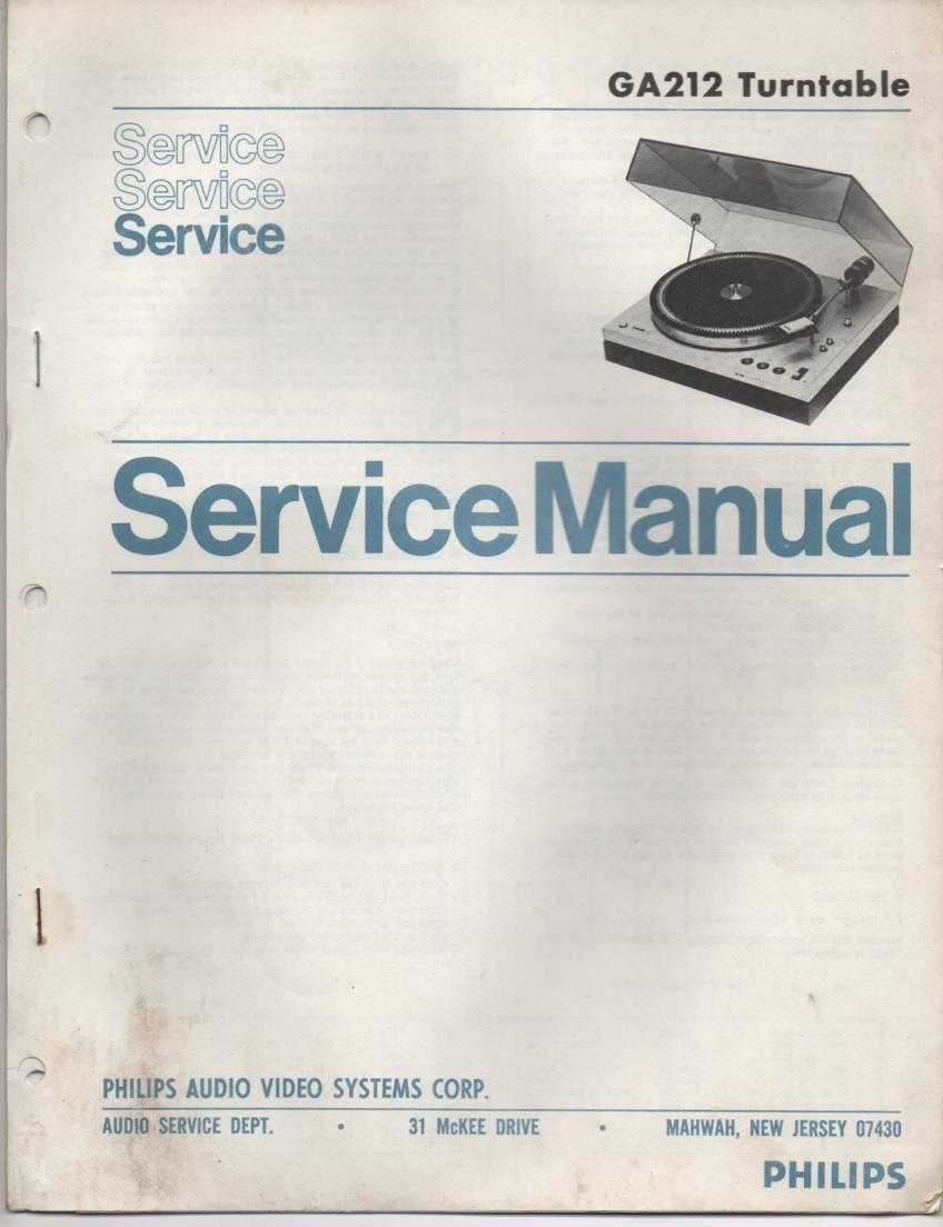 GA212 Turntable Service Manual  PHILIPS