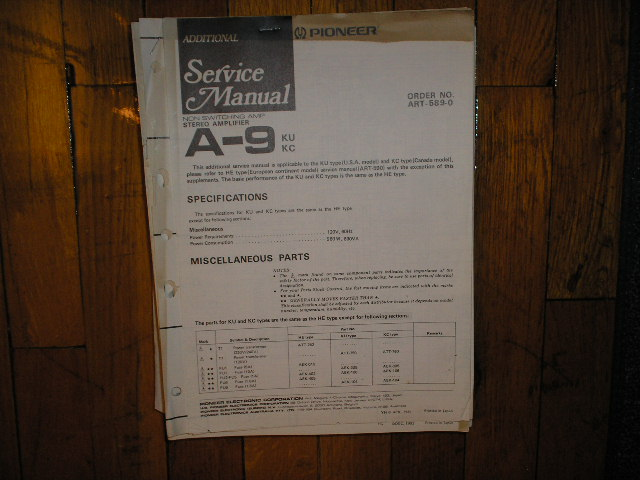 A-9 Amplifier Service Manual