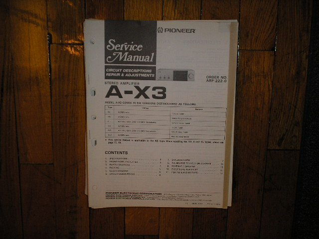 A-X3 Amplifier Service Manual