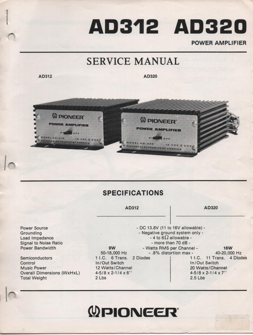AD312 AD320 Power Amplifier Service Manual  Pioneer