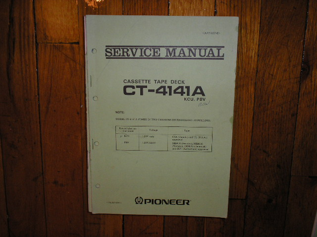 CT-4141A Cassette Deck Service Manual for KCU and PBV Types