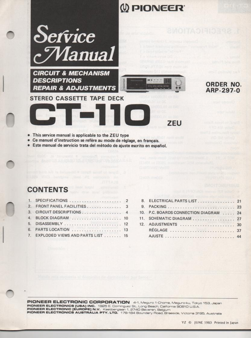 CT-110 Cassette Deck Service Manual. ARP-297-0..50 pages