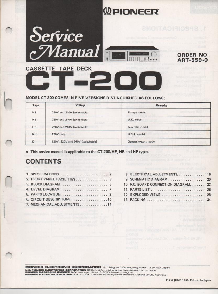 CT-200 Cassette Deck Service Manuals.  2 manual set. ART-559-0 AND ART-566-0..
