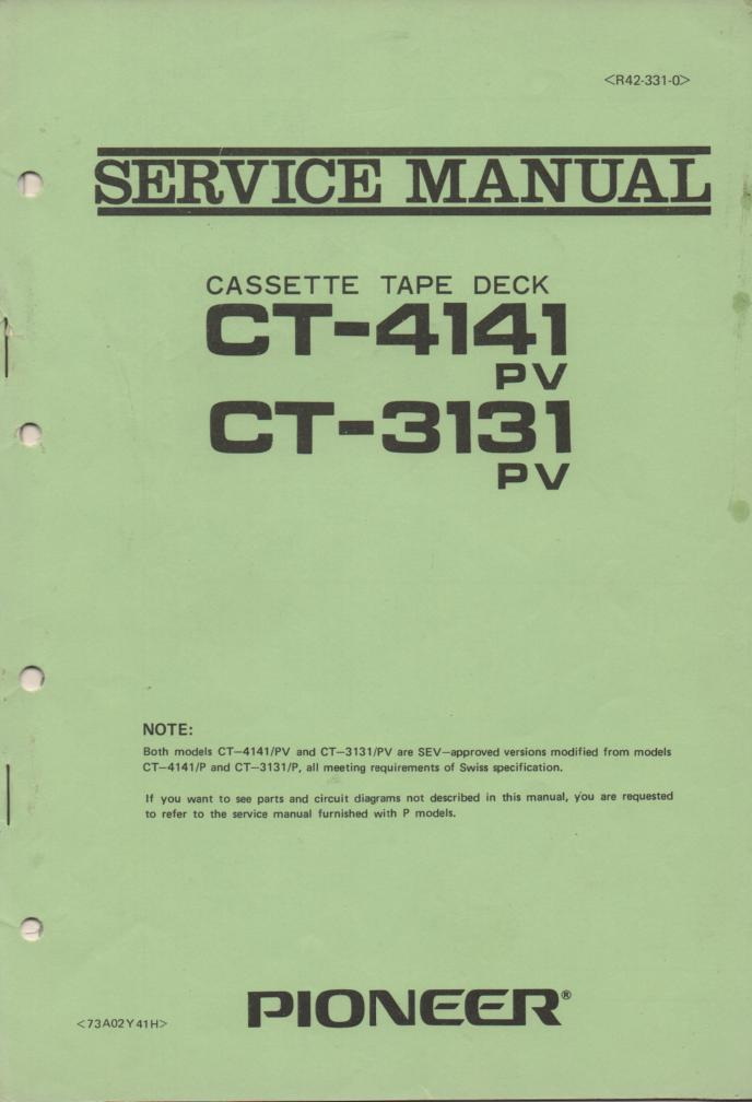 CT-3131P PV CT-4141 P PV Cassette  Deck Service Manual. R42-331-0