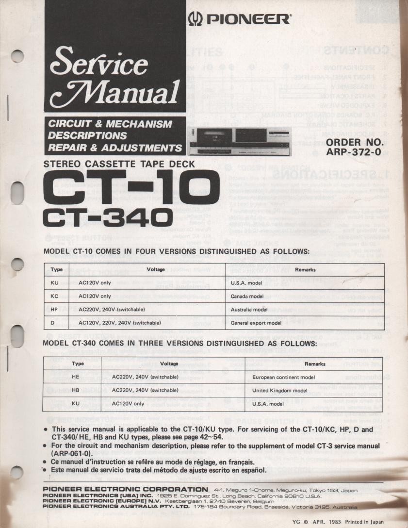 CT-340 CT-10 Cassette Deck Service Manual. ARP-372-0 ..Manual ARP-061 CT-3 manual for extra information..