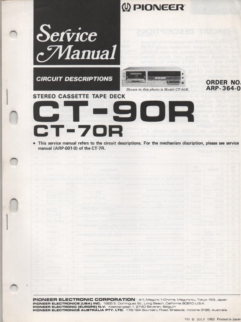 CT-70R CT-90R Cassette Deck Circuit Descriptions Service Manual. ARP-364-0
