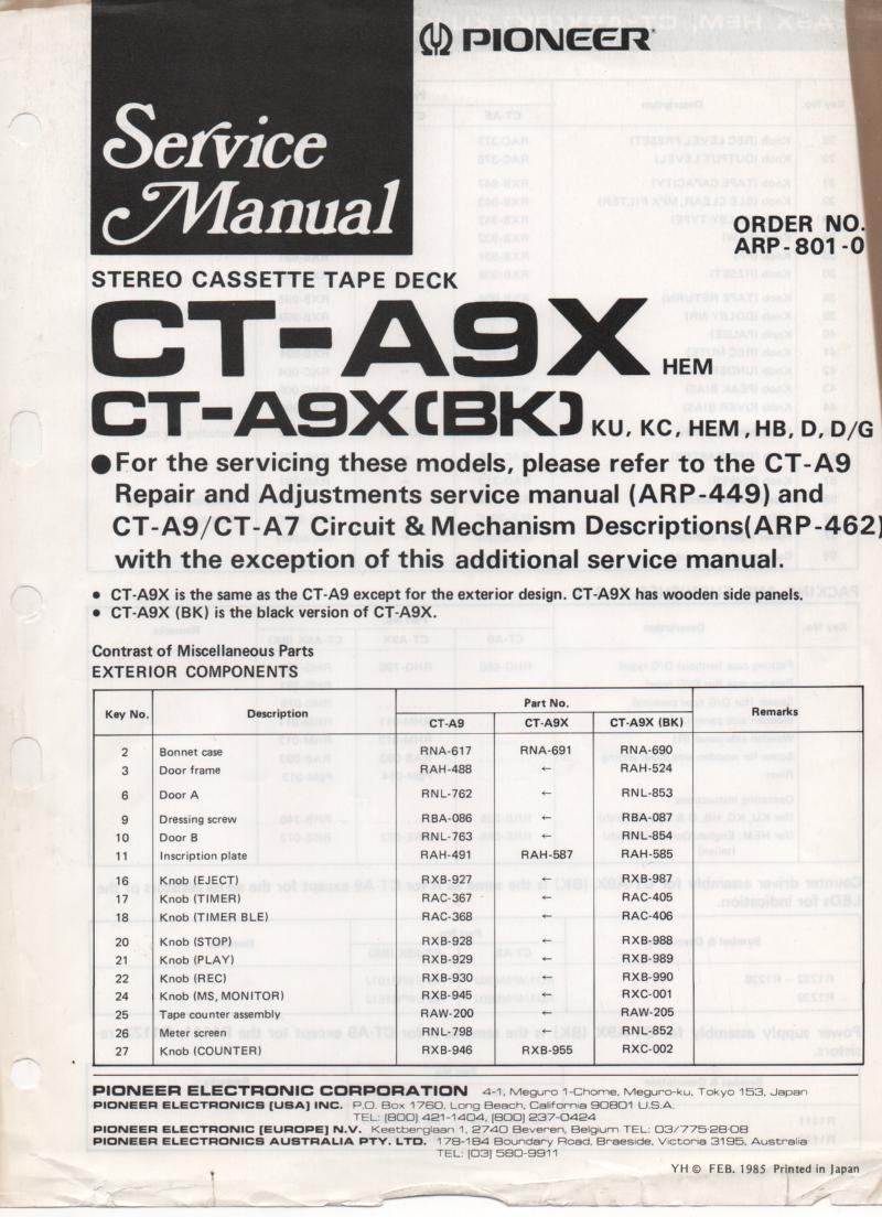 CT-A9X Cassette Deck Service Manual. ARP-801-0