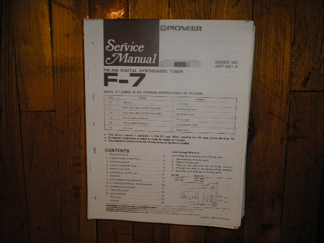 F-7 Tuner Service Manual  Pioneer
