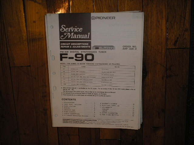 F-90 Tuner Service Manual  Pioneer