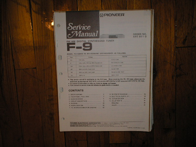 F-9 Tuner Service Manual  Pioneer