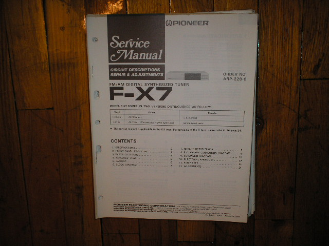 F-X7 Tuner Service Manual  Pioneer