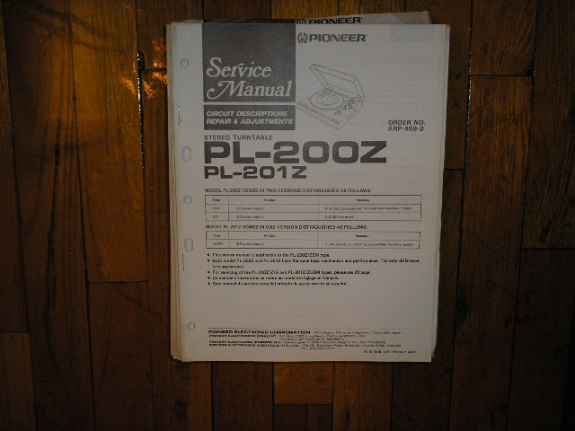 PL-200Z PL-201Z Turntable Service Manual