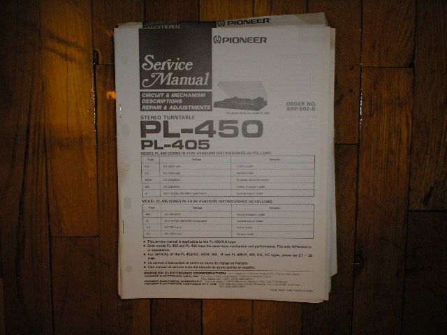 PL-405 PL-450 Turntable Service Manual