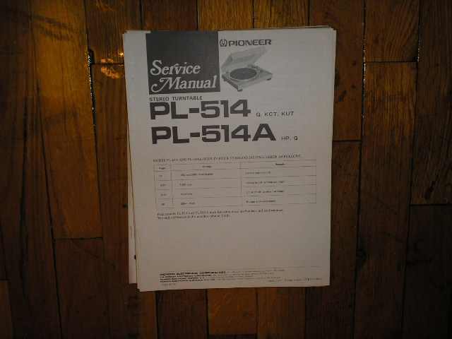 PL-514 PL-514A Turntable Service Manual  Pioneer