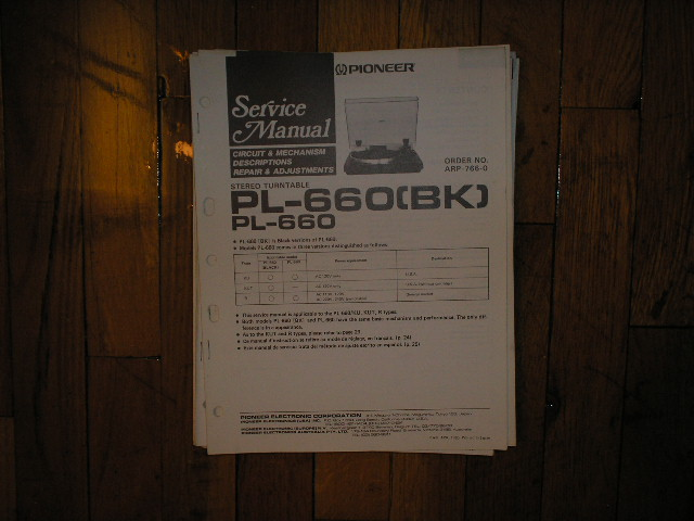 PL-660 PL-660BK Turntable Service Manual