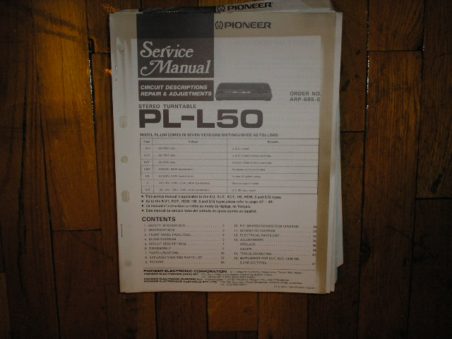 PL-L50 Turntable Service Manual