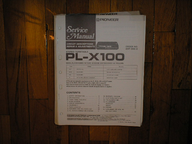 PL-X100 Turntable Service Manual  Pioneer