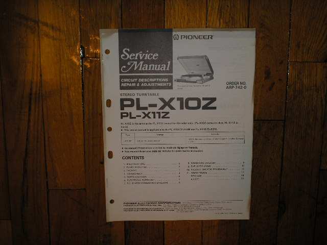 PL-X10Z PL-X11Z Turntable Service Manual
