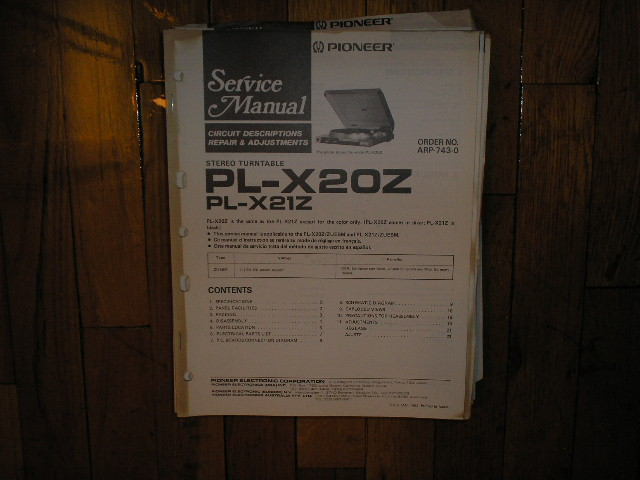 PL-X20Z PL-X21Z Turntable Service Manual