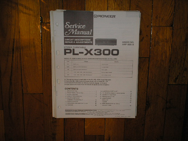 PL-X300 Turntable Service Manual  Pioneer