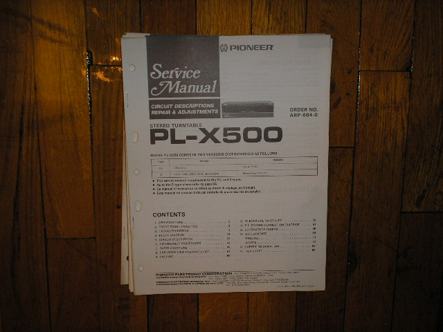 PL-X500 Turntable Service Manual  Pioneer