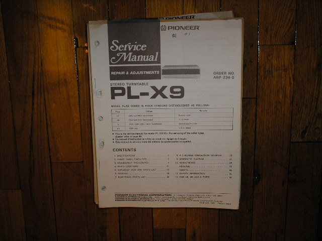 PL-X9 Turntable Service Manual 1  Pioneer