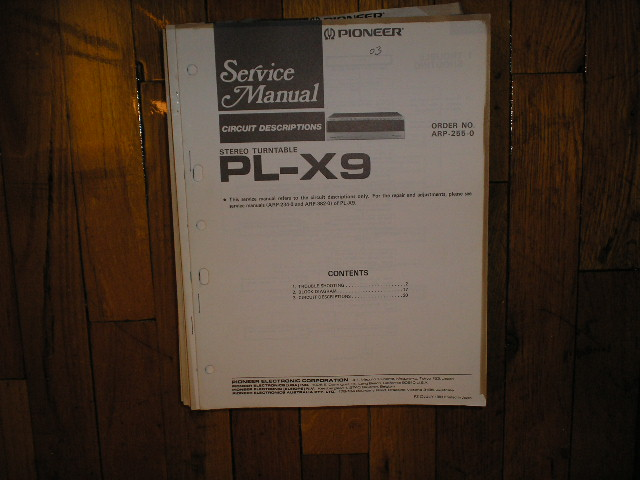PL-X9 Turntable Service Manual 2