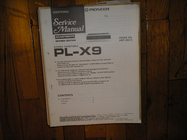 PL-X9 Turntable Service Manual 3  Pioneer