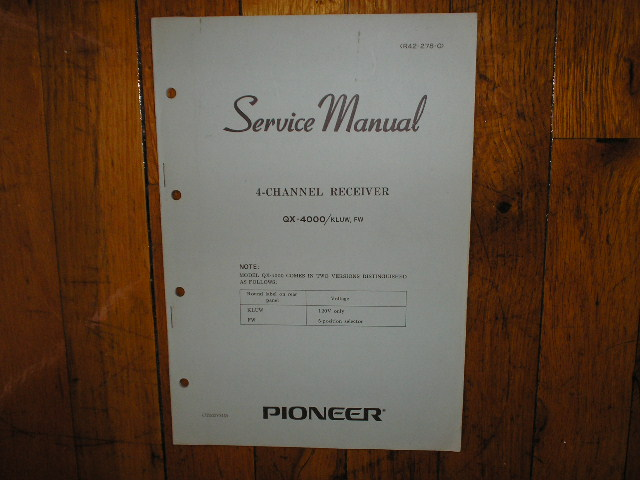 QX-4000 4-Channel Receiver Service Manual. For KLUW and FW Versions.