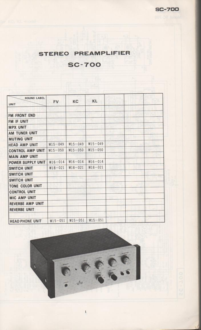 SC-700 Pre-Amplifier Schematic Manual  PIONEER SCHEMATIC MANUALS