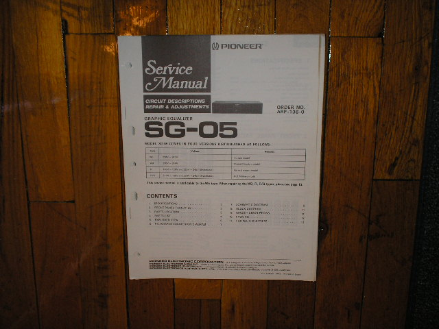 SG-05 Graphic Equalizer Service Manual