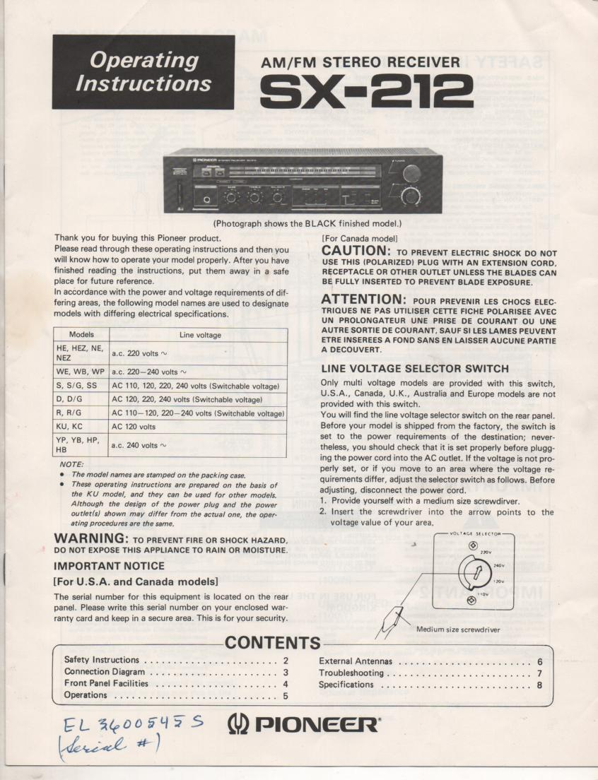SX-212 Receiver Owners Manual