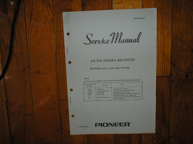 SX-424 Receiver Service Manual for KUW, FVZW, KCW, FW, NBW, Versions.