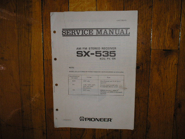 SX-535 Receiver Service Manual for KCU, FV,and GN Versions.