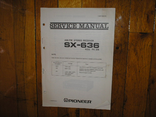 SX-636 KCU FV GN Versions Receiver Service Manual for KCU FV GN Versions.