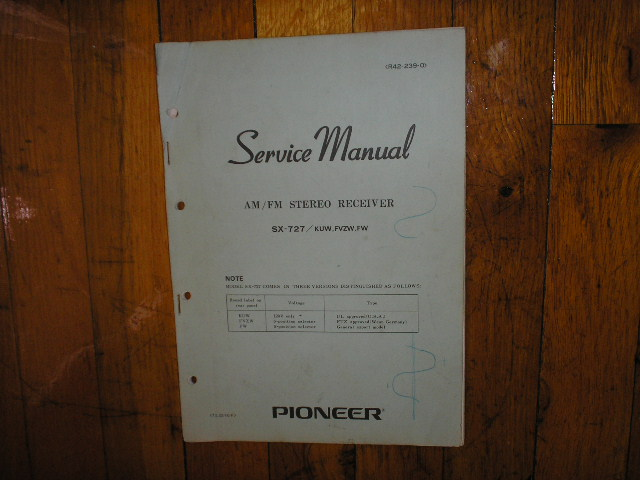 SX-727 Receiver Service Manual for KUW, FVZW, GN, Versions