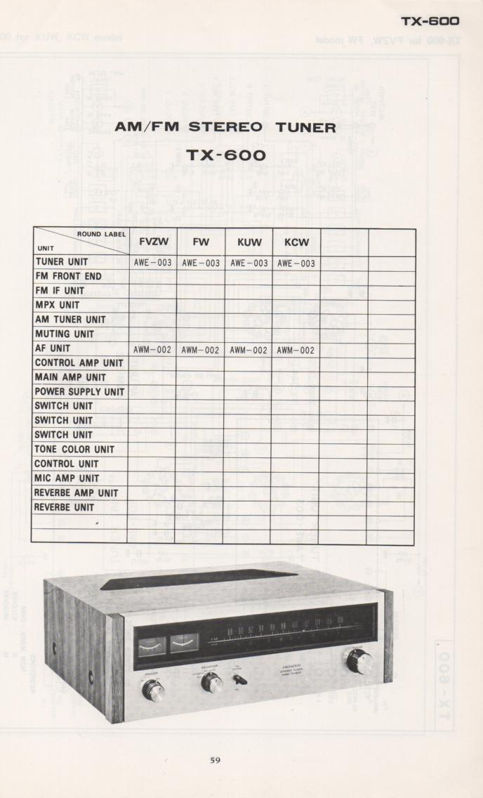 TX-600 Tuner Schematic Manual  PIONEER SCHEMATIC MANUALS