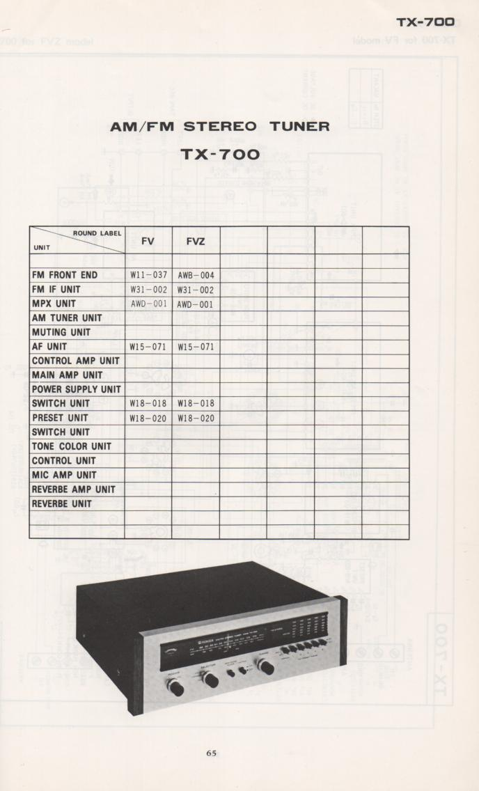 TX-700 Tuner Schematic Manual  PIONEER SCHEMATIC MANUALS