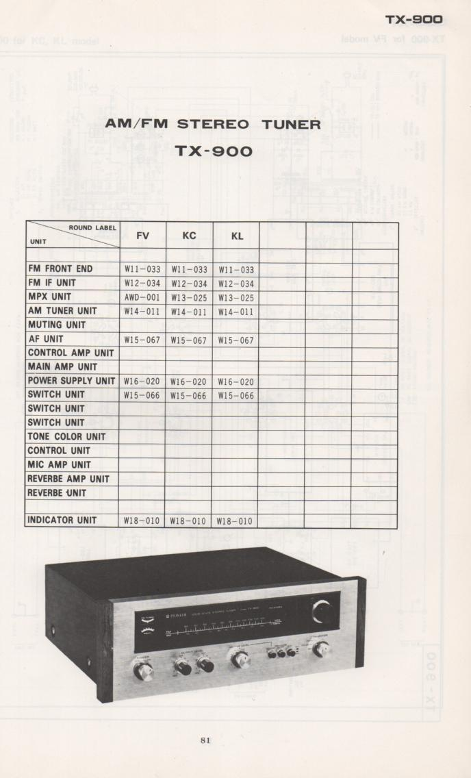 TX-900 Tuner Schematic Manual  PIONEER SCHEMATIC MANUALS