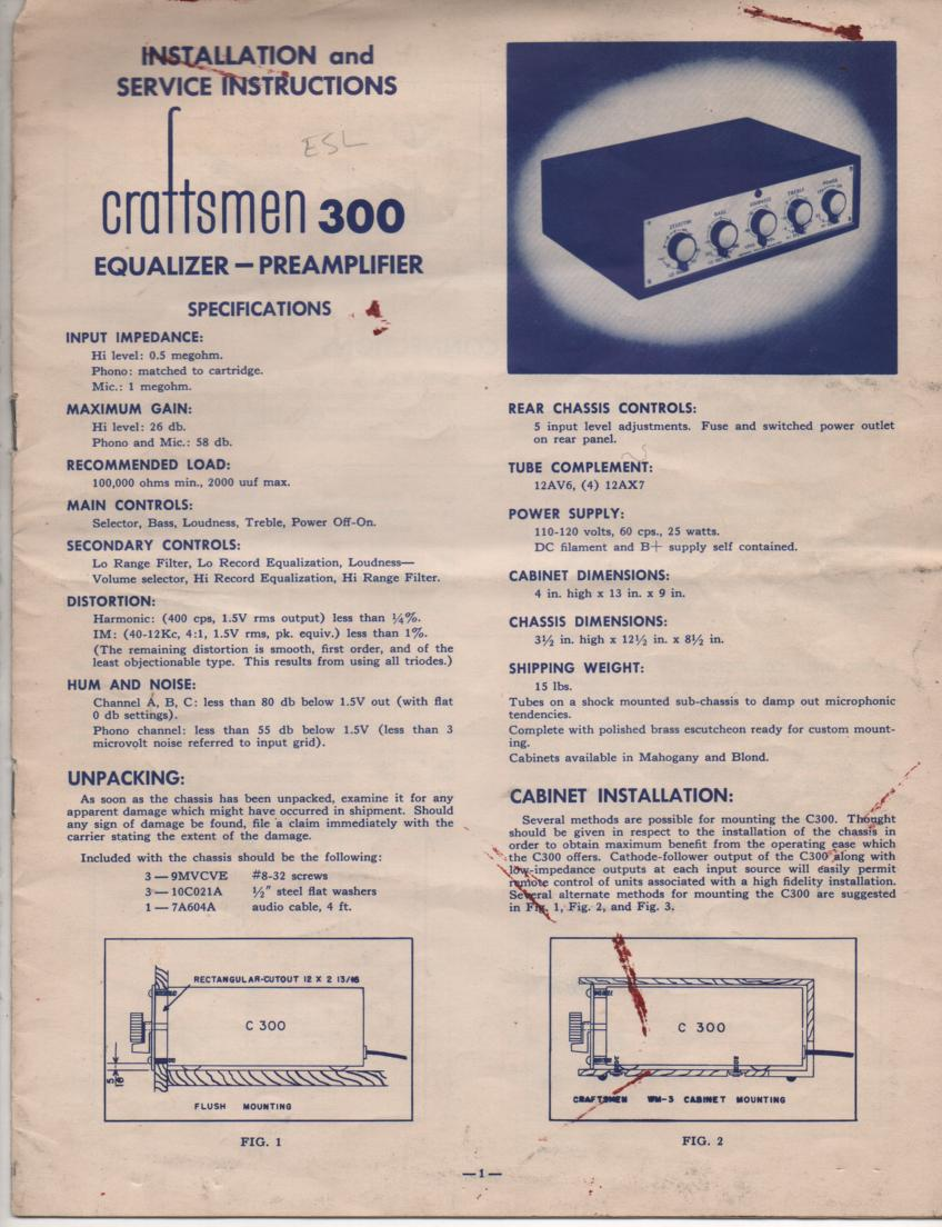 300 Equalizer Pre-Amplifier Service Manual  RADIO CRAFTSMEN