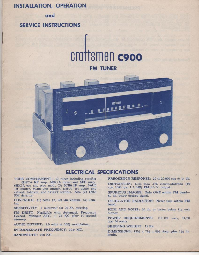 C900  FM Tuner Service Manual  RADIO CRAFTSMEN