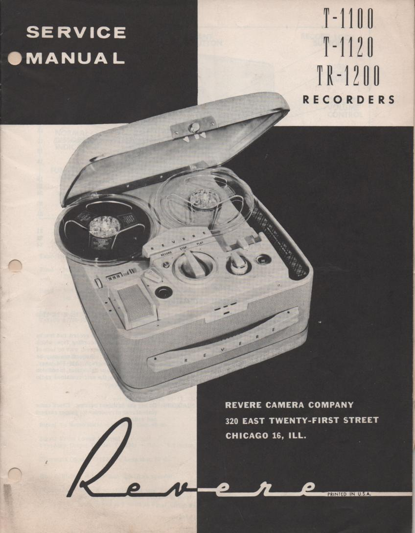 T-1100 T-1120 TR-1200 Reel to Reel Operating Service Manual  REVERE