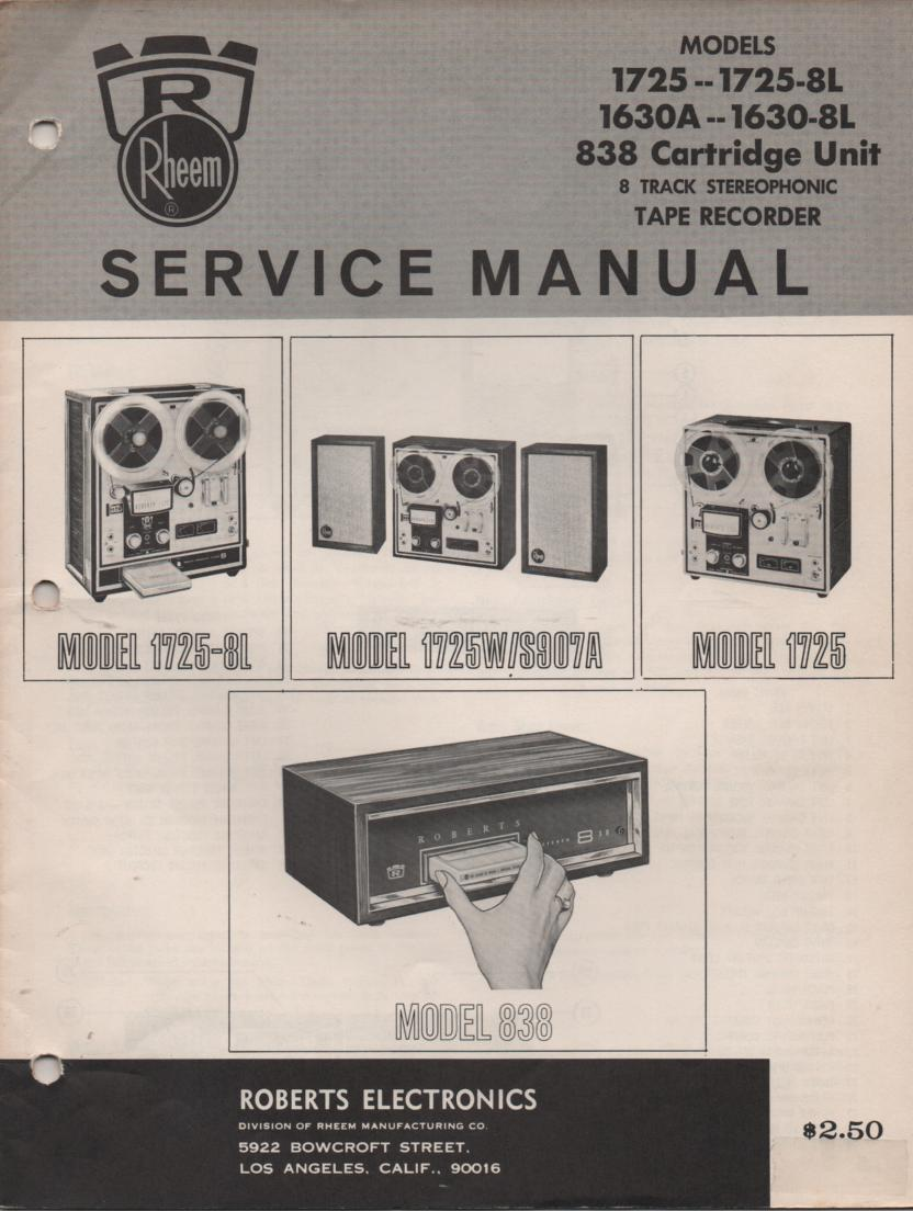 1630A S907A 838 Reel to Reel 8-Track Service Manual  ROBERTS