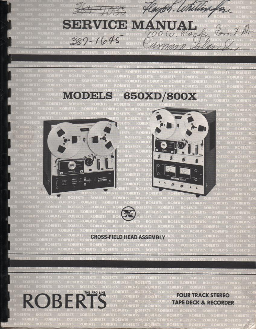 650XD 800X Reel to Reel Service Instruction Manual  ROBERTS