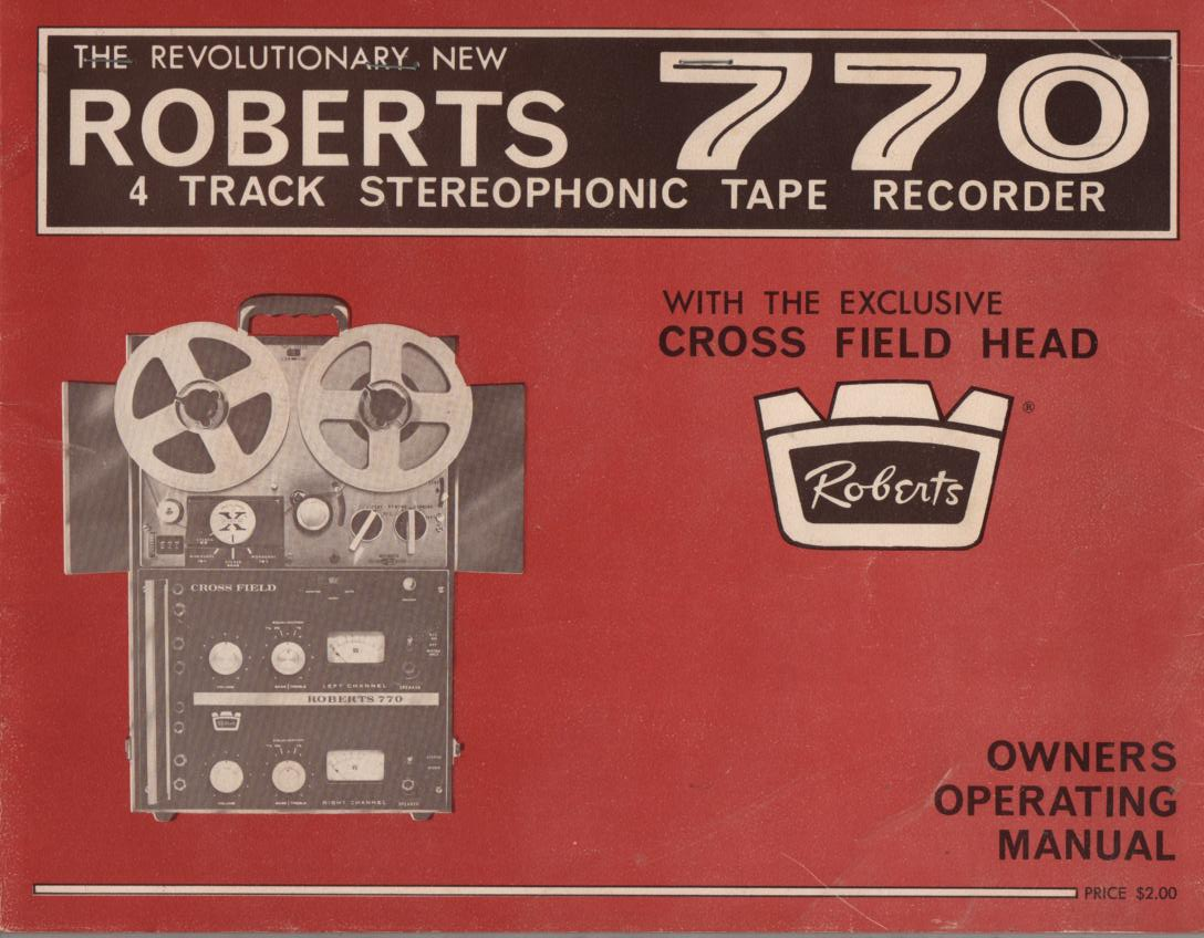 770 Reel to Reel Operating Instruction Manual  ROBERTS